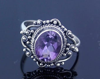 Amethyst Silver Ring // Ring Size 7 // Sterling Silver 925 // Handmade Jewelry