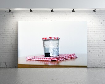 Unique Vintage Jam Jar Photo, Original 35mm FILM Photo Strawberry Jam Photo Red and White Gingham Bonne Maman Jar Food Photography Confiture
