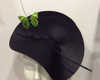 "fascinator wedding Cape raised Black Green Butterfly on black arabesque pattern ""Amazon"""