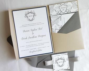Wedding Invitation Cards - Style 13 - BOTANICAL Crest COLLECTION Wedding Invitations     Wedding Invites    Invitation Set