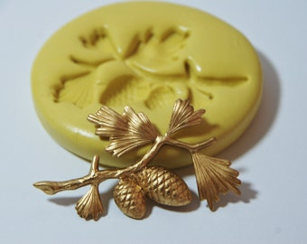 0193-Pine Tree Branch Spray with Pinecones Silicone Rubber Flexible Mold-Wax, soap, polymer clay, clay, plaster, fondant, cake decorating