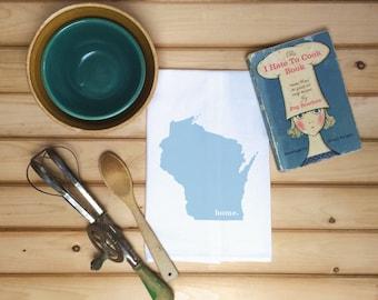Wisconsin State Flour Sack Towel, Wisconsin State Tea Towel, Flour Sack Tea Towel, Housewarming Gift, Wedding Gift, Birthday Gift, State Art