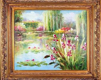 Framed Oil On Canvas E.Colton's Pond Scene Impressionist Landscape Collectible Fine Art Painting