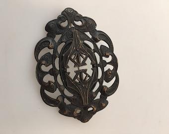 1880s Vintage, Victorian Brooch, MOURNING Brooch, Brass SASH Pin, Japanned Metal, Mourning Pin, Openwork Design, Black Brooch