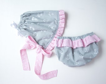 Gray Anchors Bonnet Set-Baby Girl Bonnet Set-Ruffled Bonnet and Bloomers-Ruffled Diaper-Pink & Gray-Nautical Bonnet Set