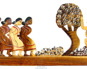 50% OFF-Wooden Figurines Tribal Dancers Home Decor Home Accent Indian Handicraft of Rubber Wood-Collectible-from Tripura in North-East India