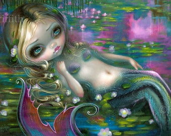 Monet Mermaid art print by Jasmine Becket-Griffith 8x10 impressionism water lily impressionist waterlilies claude