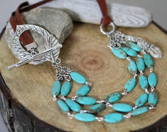 Three Strand Turquoise Leather Cord Leaf Clasp Necklace, Bohemian Necklace, Boho Style Jewelry, Big and Bold Necklace, Leaf Necklace