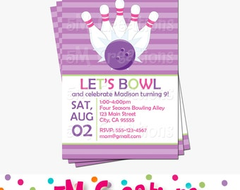 BOWLING Birthday Party Printable INVITATION - GIRL Bowling Party Invite - Bowling Party Printables -Pink and Purple Printable Bowling Invite