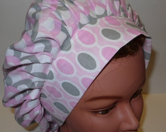 Bouffant Surgical Scrub Hat Pink and Gray