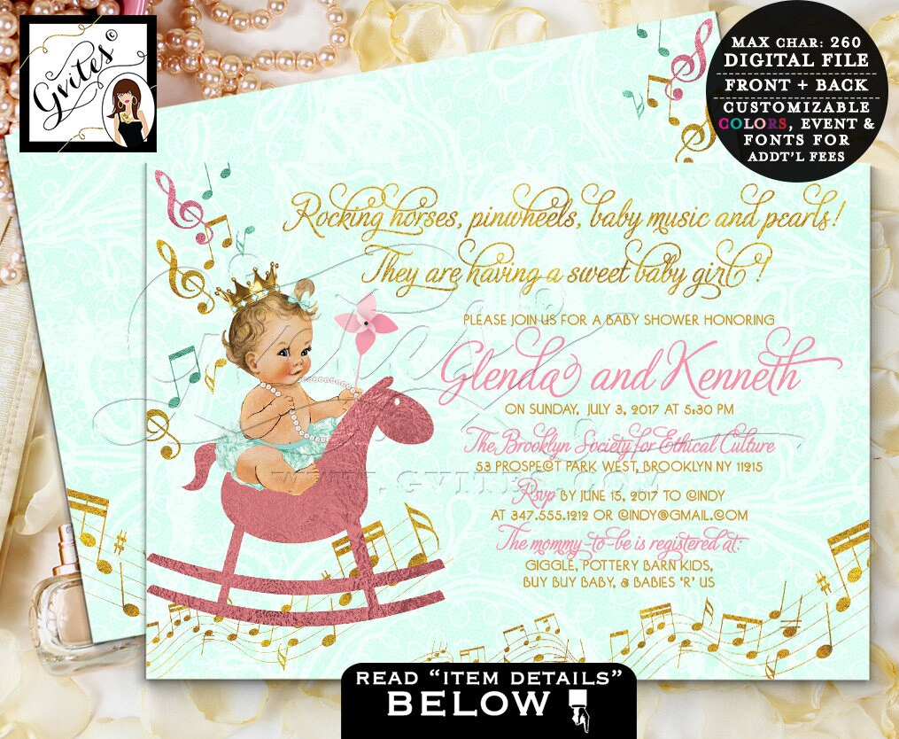 Mint and Gold baby shower invitation, music baby invitation princess ...