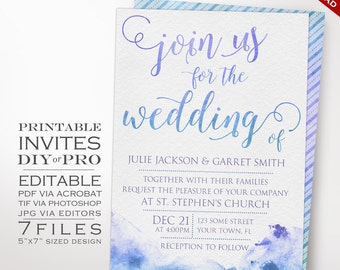 Wedding Invitation Template - Watercolor Wedding Invitation - Printable DIY Painted Watercolor Wedding Invitation Editable Wedding Invite