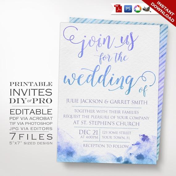 Wedding Invitation Template Watercolor Wedding Invitation