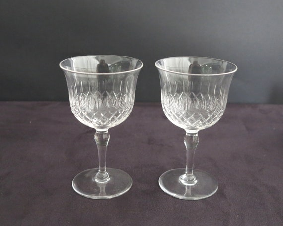 2 antique cut crystal wine glasses, tulip shaped bowl, trellis pattern with splits and ovals, circa 1920s