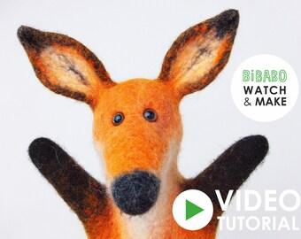 VIDEO tutorial for fox handpuppet, wet felted technic, INSTANT DOWNLOAD