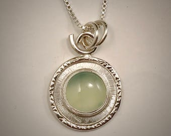 sterling silver and light green chalcedony framed necklace