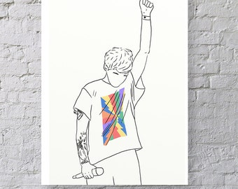 Just Hold On - Louis Tomlinson - One Direction - Rainbow - Art - Illustration - Drawing - Print
