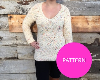 Knit pattern Only*** Kettlecorn sweater, v-neck knit sweater, form fitting sweater pattern, knit sweater pattern, moss stitch sweater