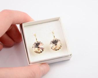 Soft peach dangle earrings - Soft peach crystal earrings