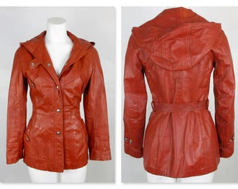 Vintage 1970s Genuine Leather Hooded Jacket, Coat / Body Con / Size Small / Winlit Label / Boho Chic