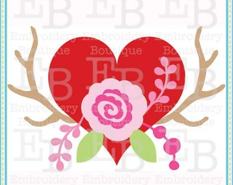 Antlers Heart Rose SVG - This design is to be used on an electronic cutting machine. Instant Download