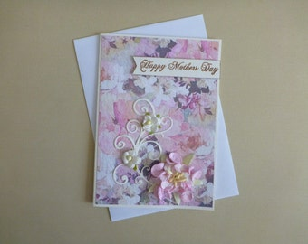 Pretty in Pink Floral Mother's Day Card FREE SHIPPING