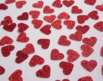 Red Glitter Heart Confetti, Wedding Reception Decoration, Table Scatter Confetti, Bridal Shower Decor, Valentine Party Decor 250 pieces