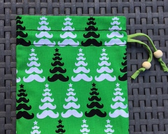 small mustache black white green Christmas tree Christmas gift pouch