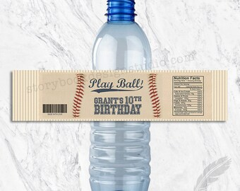 Batter Up Baseball Water Bottle Labels, printable, digital, personalized