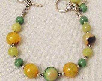 Onyx Agate Jewelry, Handmade Bracelet, Yellow Green Onyx Agate. Lemon Jade, Green Apple Jade Bracelet, Multicolor Gems, Healing Gemstones