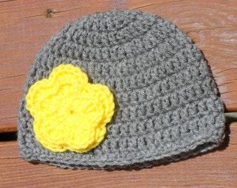 Flower Baby Hat, Baby Girl Hat, Girl Crochet Prop, Etsy Kids, Gray Cap, Big Flower Hat, Layered Flower Hat, 3 Months Hat, 12 Months Hat