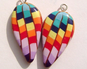 Hot Air Balloon Colorful Dagger Style Charm Handmade Artisan Polymer Clay Beads Pair