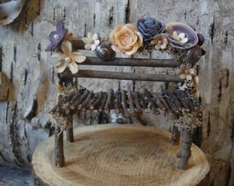 Miniature Fairy Bench, Natural Fairy Garden Bench, Miniature Bench, Fairy Garden Accesories, Dollhouse Bench, Natural Miniature Furniture
