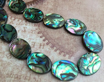 free UK postage - Pack of 6 Rainbow Abalone Beads Paua Shell Beads Oval