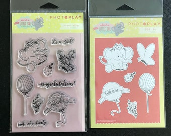 Set of Stamps and Dies, It's a Girl Theme, Die & Clear Stamps, Various Designs and Sentiments, Scrapbooking, Card Making