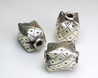 Rectangular Hill Tribe Fine Silver Focal Bead 15mm Large Hole Bead HT- 182