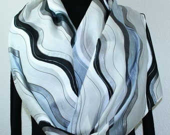 Black, White, Silver Gray Hand Painted Silk Scarf WHITE QUEEN. Large 14x72. Silk Scarves Colorado. Birthday Gift, Bridesmaid Gift