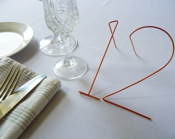 Metal wire table numbers-angled