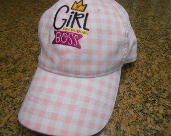 "Embroidered Ladies Baseball Cap -""Girl Boss"""