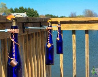 Three 750ml Cobalt Blue Wine Bottle Tiki Torches - Gift for Mom - Outdoor Lighting - Garden Decor - Oil Lamp - Wine Bottle Tiki Torch