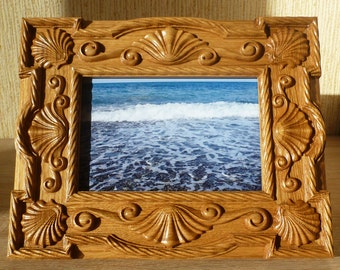 Wooden Carved Photo Frame Picture Frame 4x6 Photo Birthday Mother's Day Gift Wood Carving