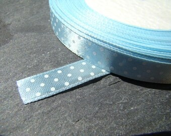 1 meter blue satin with white polka dots Ribbon