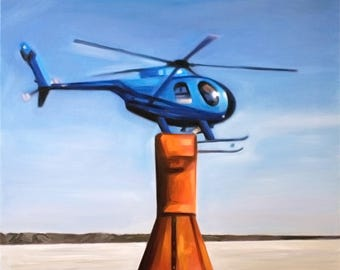 Helicopter Pilot Gifts Personalized Helicopter Painting From Photo Hand Painted Fine Art Great Approval Process