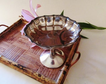 Floral Wreath Chippendale Compote, Romantic Decor, International Silver Compote, Downton Abbey Pedestal Dish