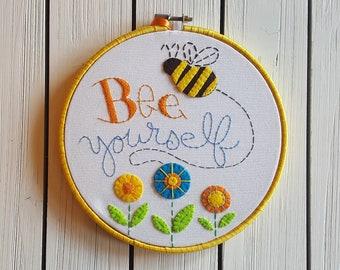 Bee Yourself Applique Embroidery Hoop