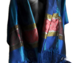 Colorful Silk fringed stole by Mantero VIII  collection Blue and Green gorgeous Vintage luxurioux Fringed large scarf Women accessories Gift