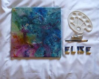 Abstraction pastel bleu Eclaboussures artistique unique abstrait Tableau Peinture Décoration moderne Carré Format 40 x 40 cm 15 x 15inch
