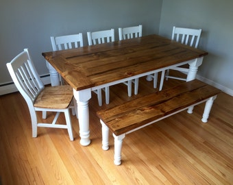 Classic Turned Leg Farmhouse Dining Table