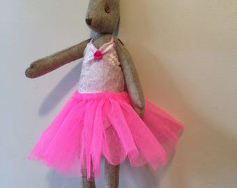 Hand Made Felt Hare - Bella Ballerina with leotard, tutu and shoes