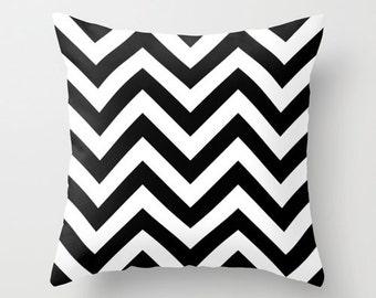 Black and White Chevron Pillow Cover, Velvet Cushion, 18x18, 22x22, Dorm Pillows, Girls Bedroom, Teen Girl Room Decor, Gifts for Her